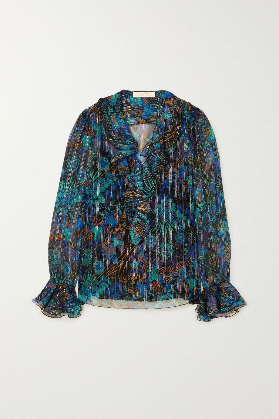 See By Chloé Ruffled metallic floral-print silk-blend georgette blouse