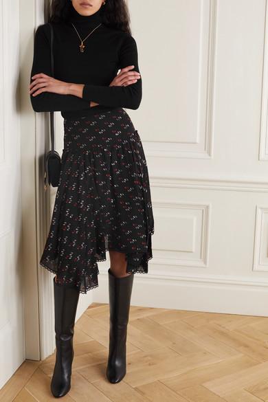 Asymmetric Lace Trimmed Metallic Fil Coupé Chiffon Skirt by See By Chloé