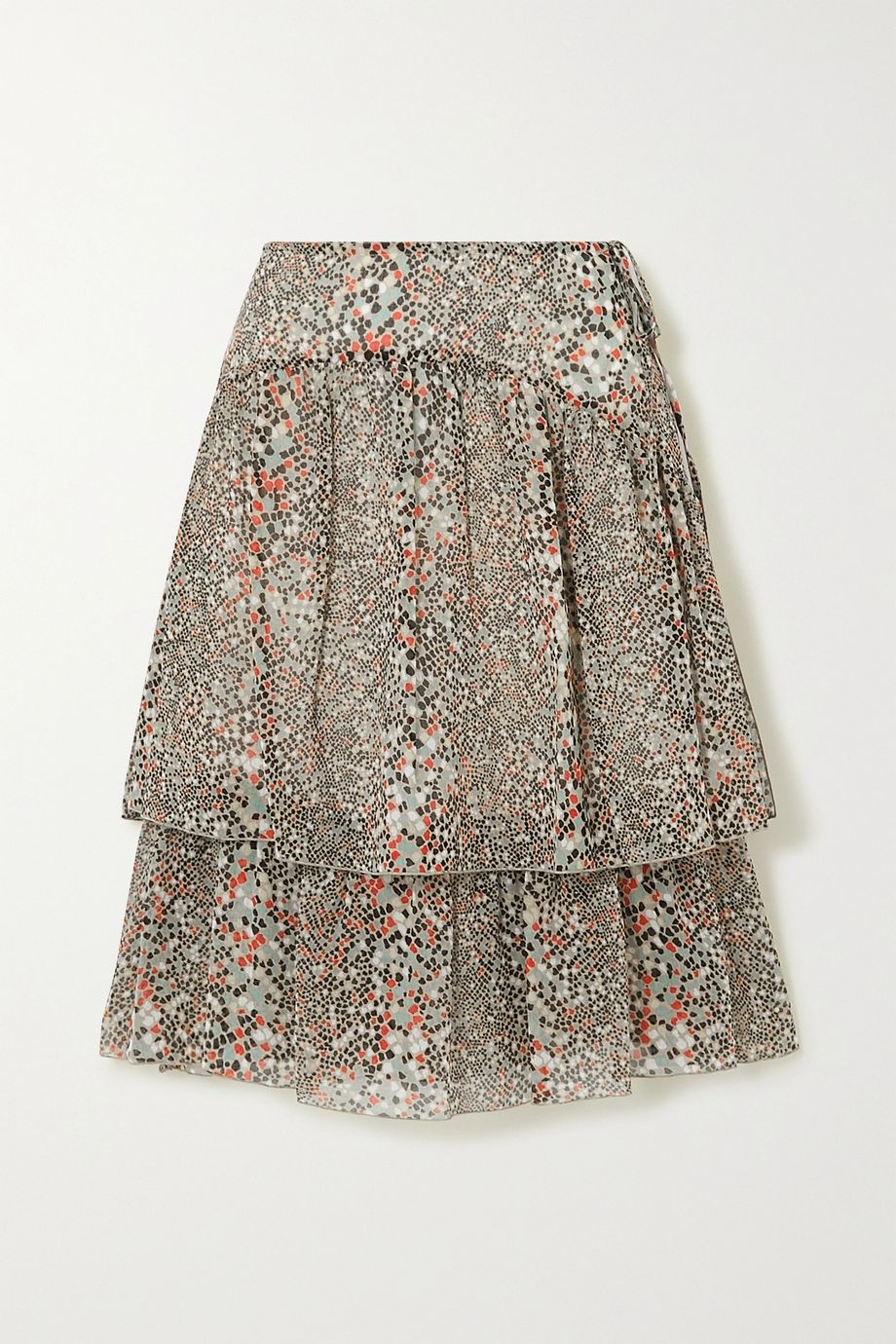 See By Chloé Tiered printed cotton and silk-blend chiffon skirt