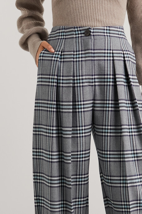 Pleated checked twill tapered pants