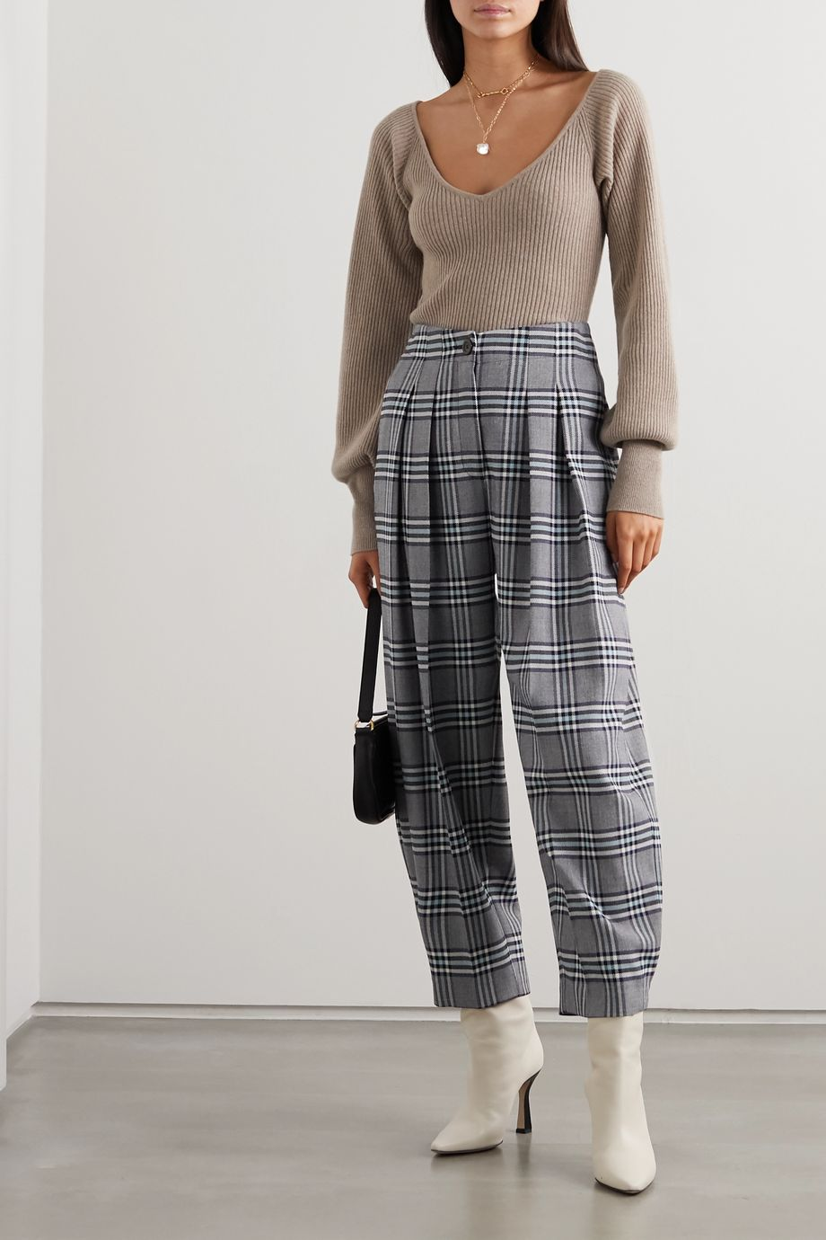 See By Chloé Pleated checked twill tapered pants