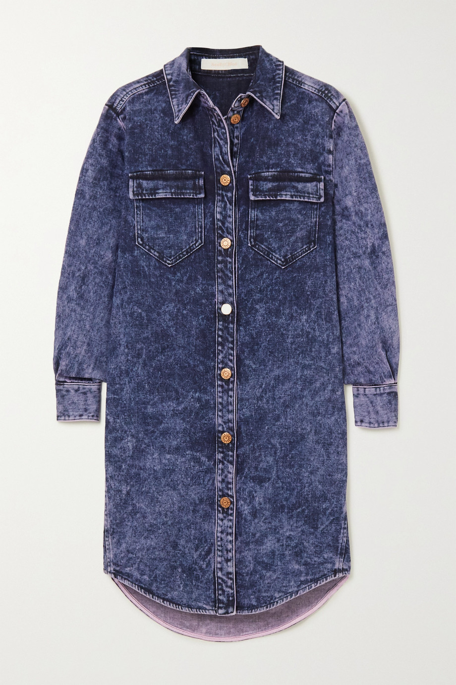 See By Chloé Acid-wash denim mini dress