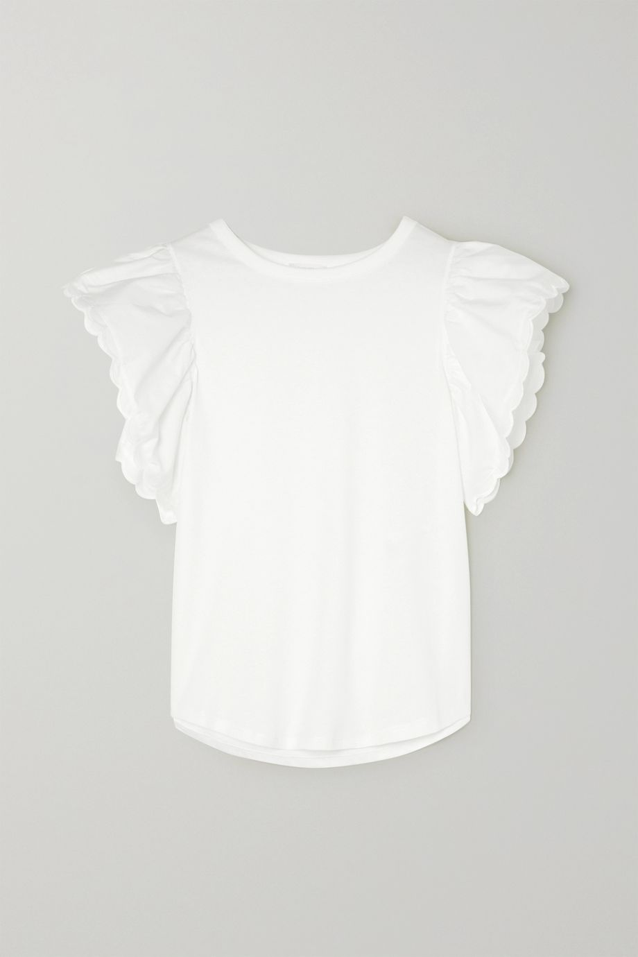 See By Chloé Scalloped cotton-poplin and cotton-jersey blouse