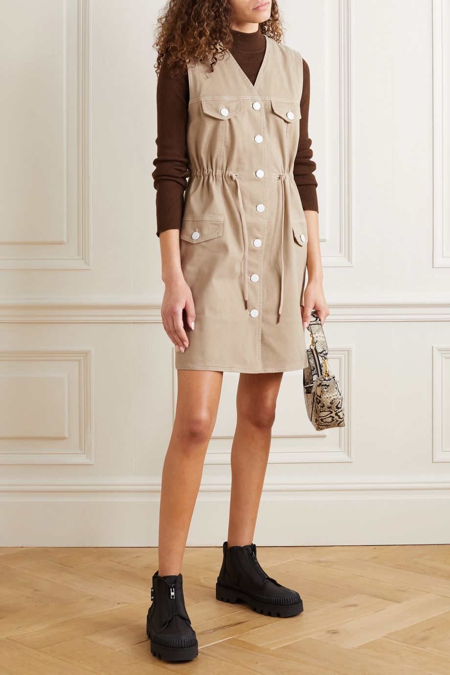 See By Chloé Drawstring stretch-cotton gabardine dress