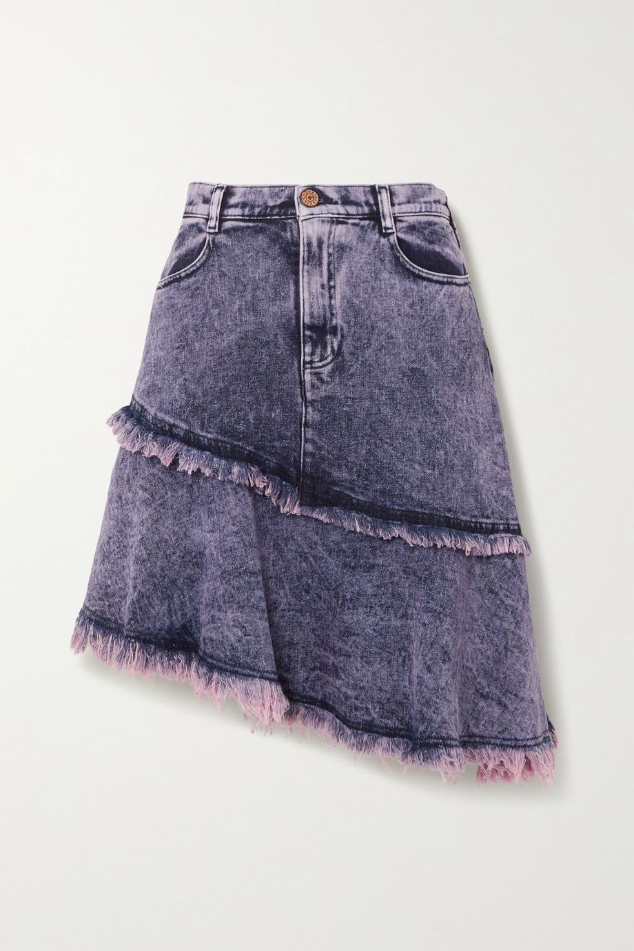 See By Chloé Asymmetric tiered frayed acid-wash denim skirt
