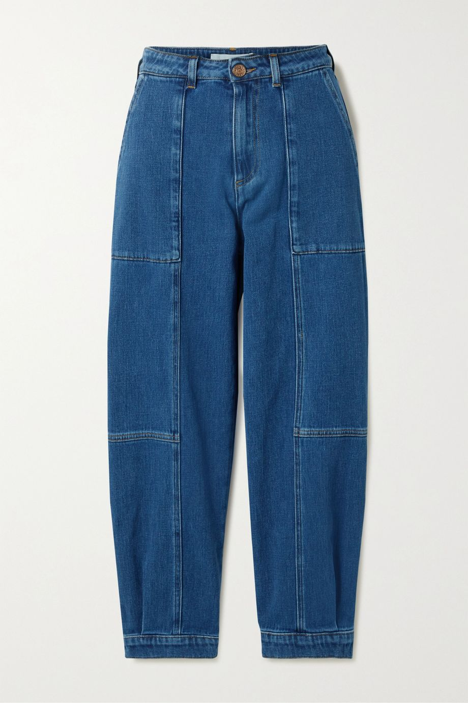 See By Chloé Cropped paneled high-rise jeans