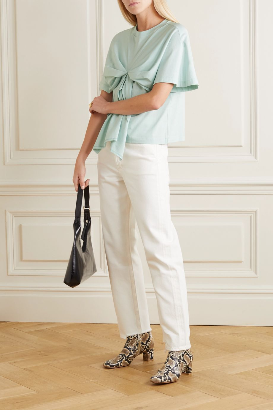 See By Chloé Bow-detailed cotton-jersey T-shirt