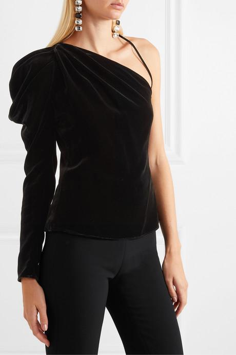 One-sleeve velvet top