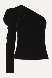 Cushnie One-sleeve velvet top