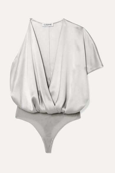 Asymmetric Silk Satin And Stretch Mesh Bodysuit by Cushnie