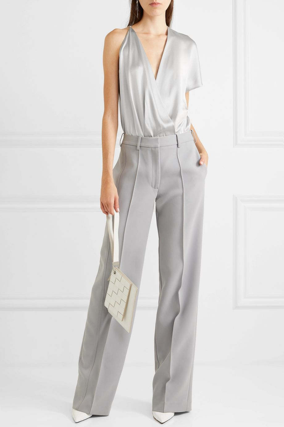 Cushnie Asymmetric silk-satin and stretch-mesh bodysuit