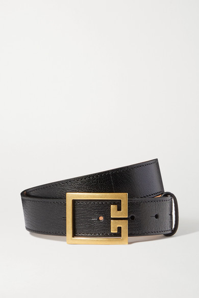 Givenchy Gv3 Buckle Croc Embossed Calfskin Skinny Belt In Black