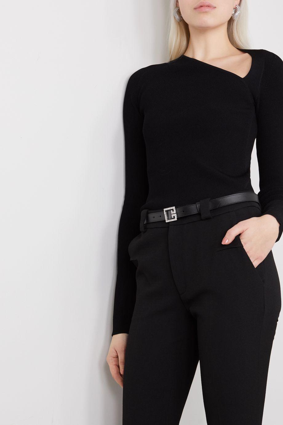 Givenchy Crystal-embellished leather belt