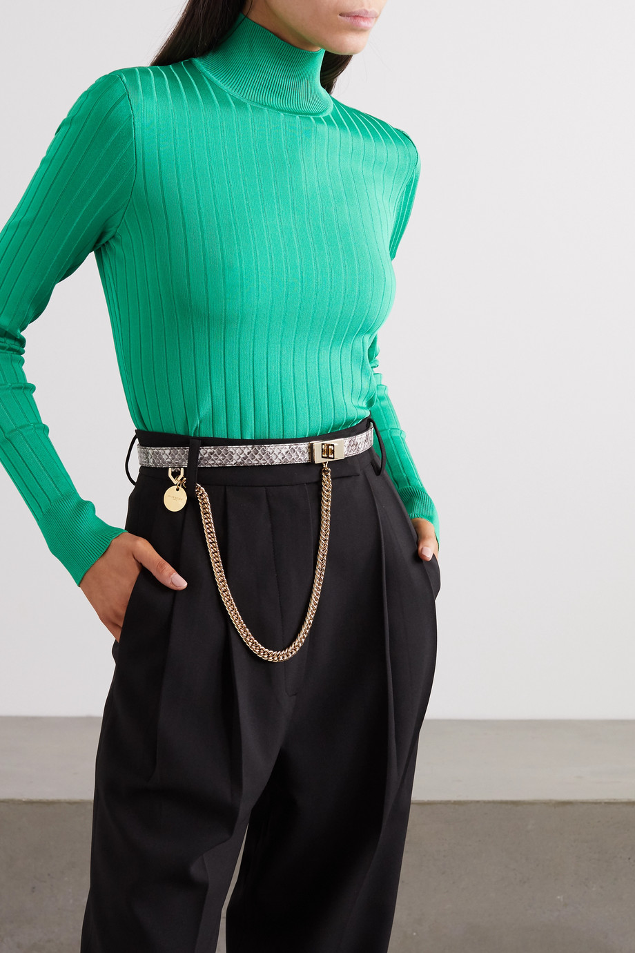 Givenchy Chain-embellished watersnake leather belt