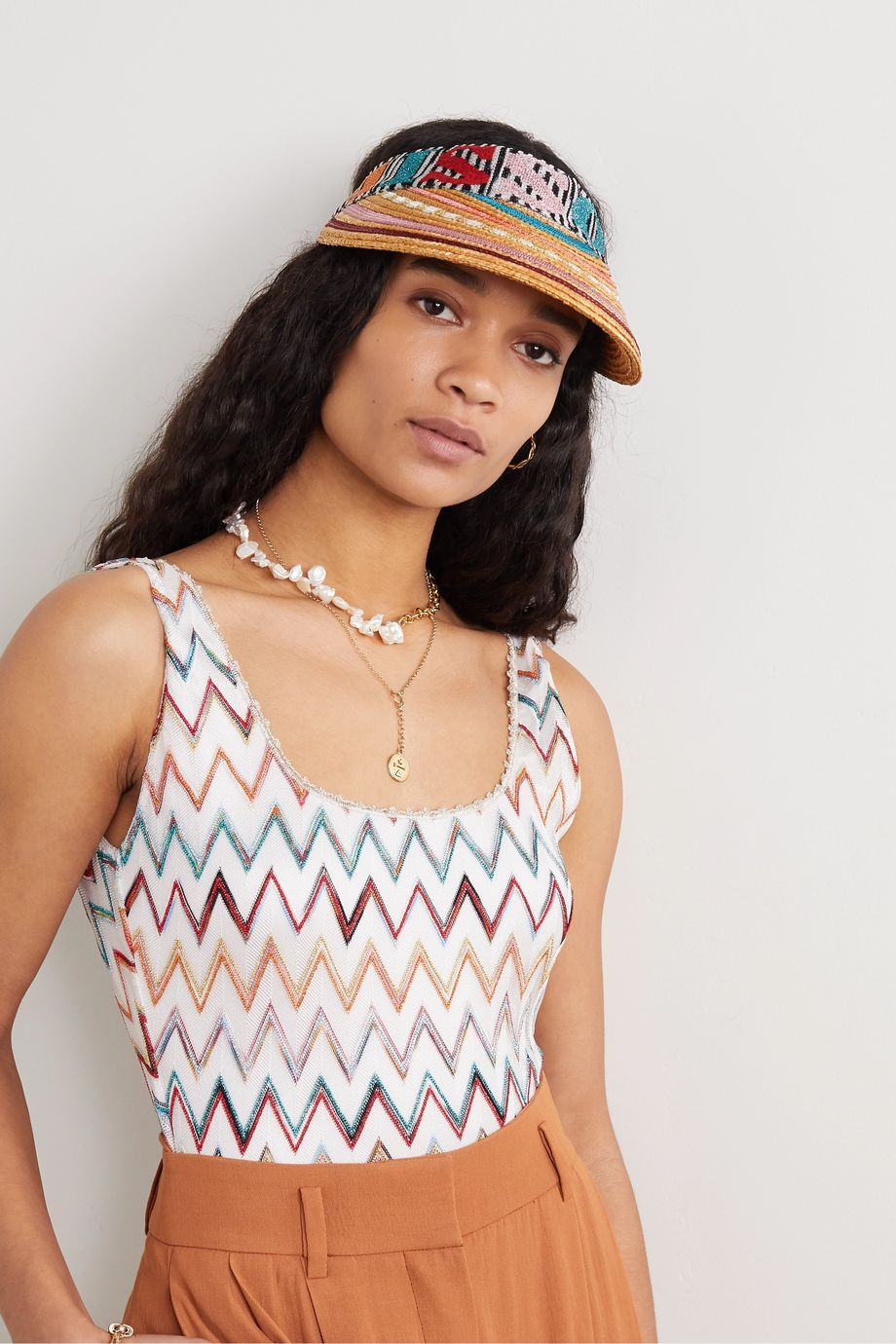 Missoni Striped straw and crochet-knit visor