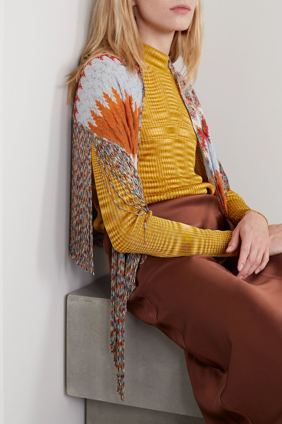 Missoni Fringed crochet-knit wrap