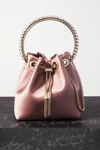 Bon Bon Crystal Embellished Satin Bucket Bag by Jimmy Choo