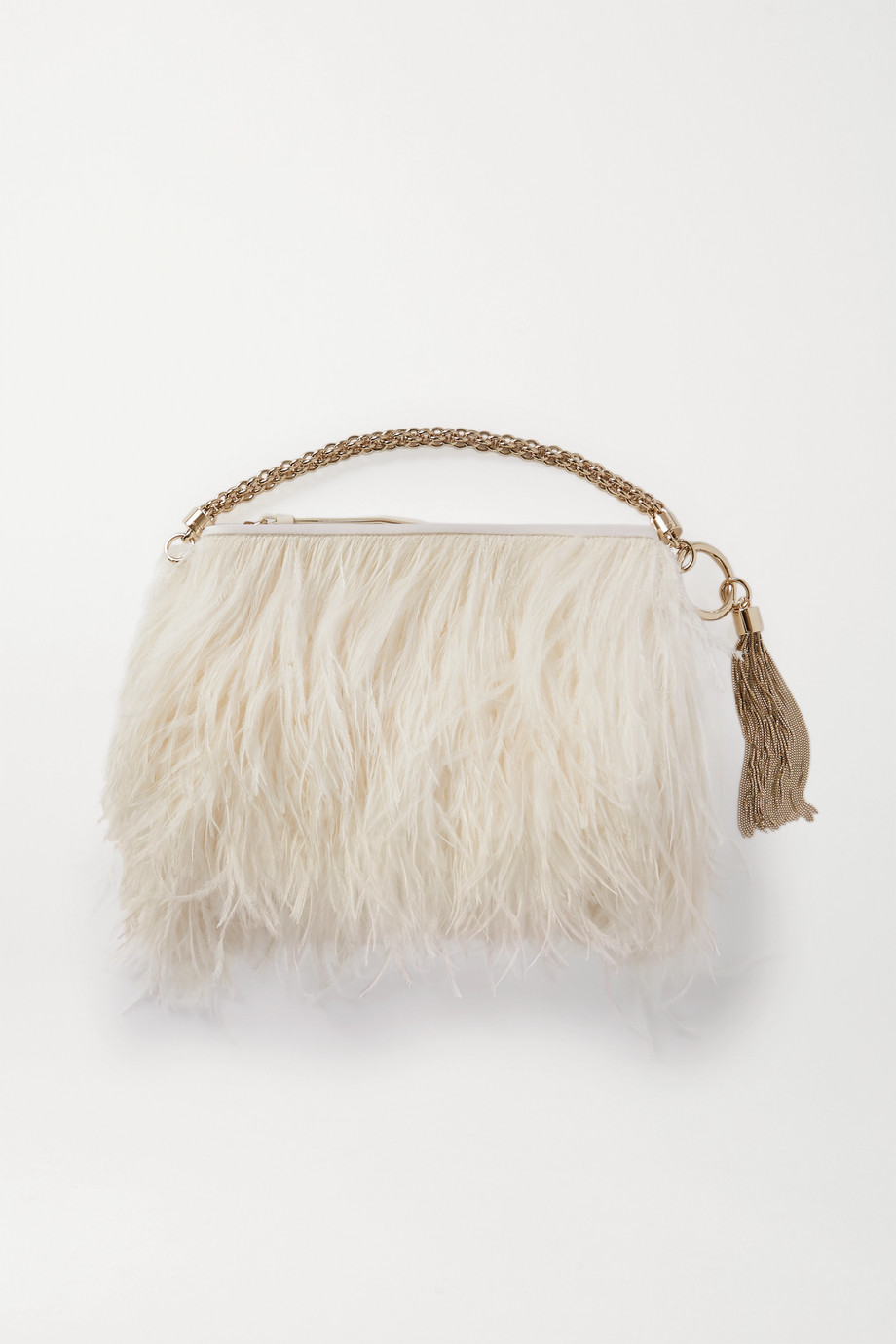 Jimmy Choo Callie feather-trimmed satin clutch