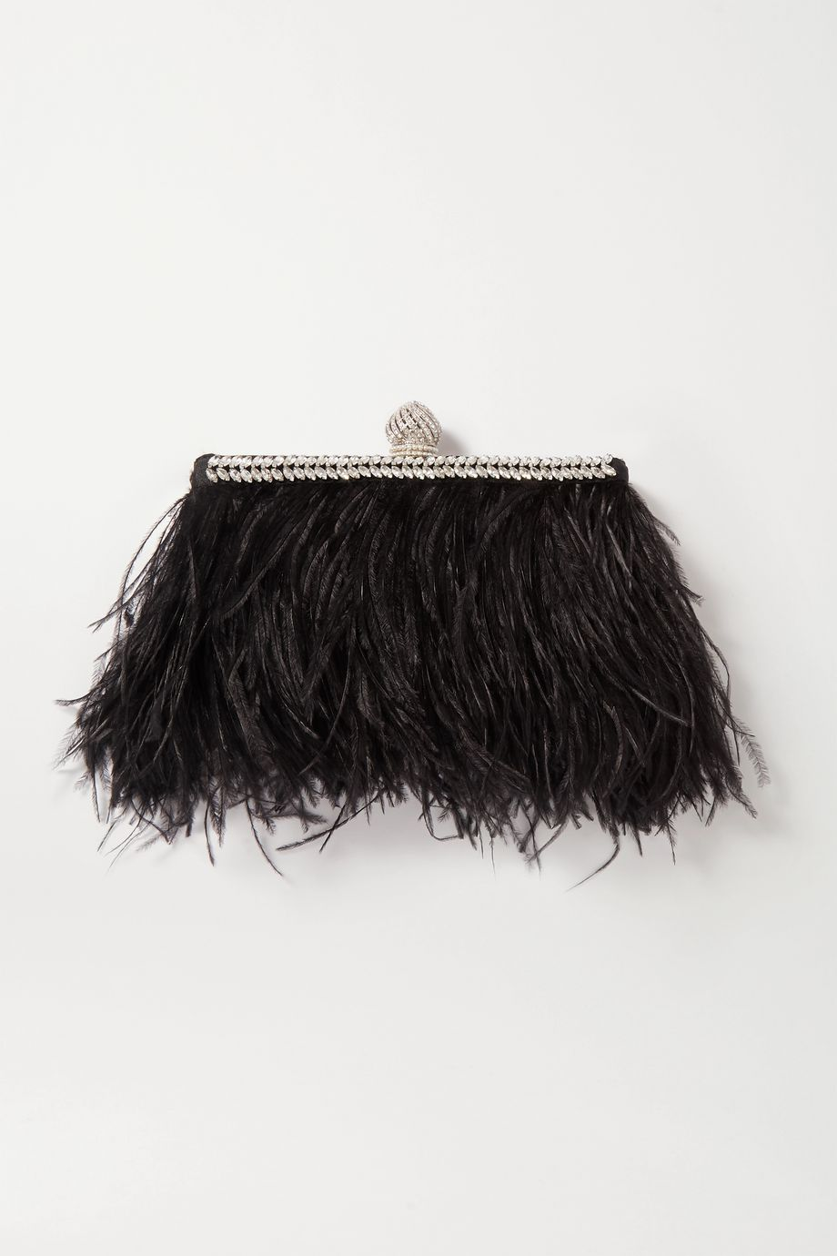 Jimmy Choo Celeste feather and crystal-embellished satin clutch