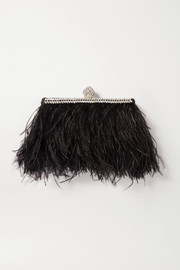 Celeste feather and crystal-embellished satin clutch