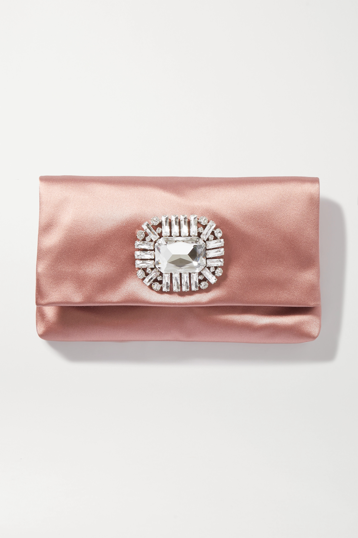 Jimmy Choo Titania crystal-embellished satin clutch