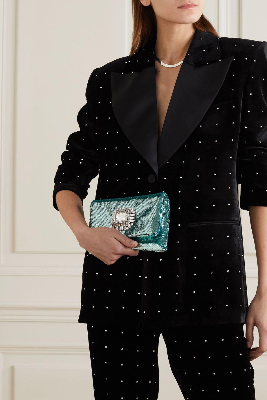 Jimmy Choo Titania crystal-embellished sequined satin clutch