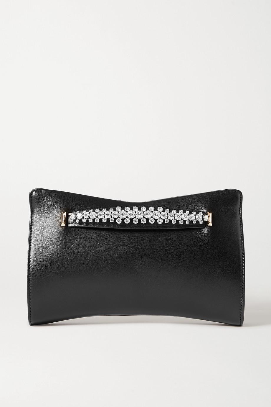 Jimmy Choo Venus crystal-embellished leather clutch