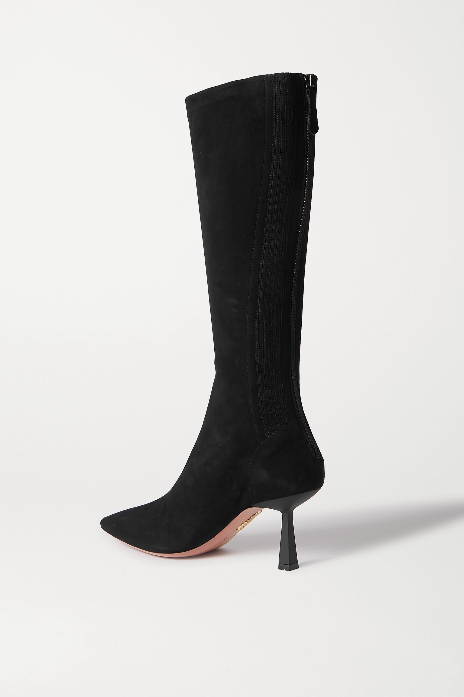 Aquazzura Curzon 75 kniehohe Stiefel aus Veloursleder