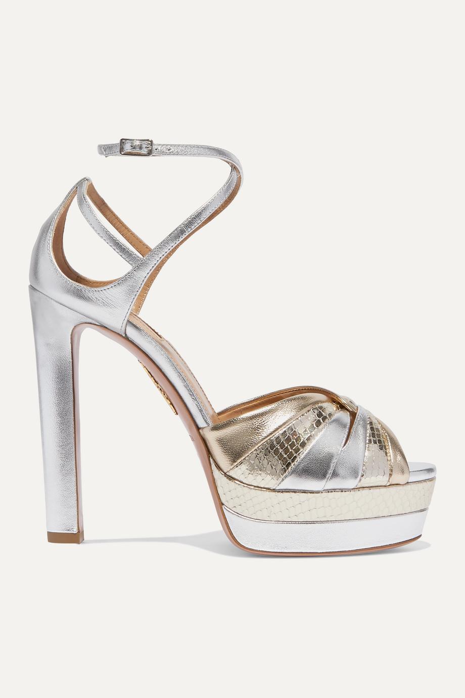 Aquazzura La Di Da 130 two-tone metallic leather platform sandals