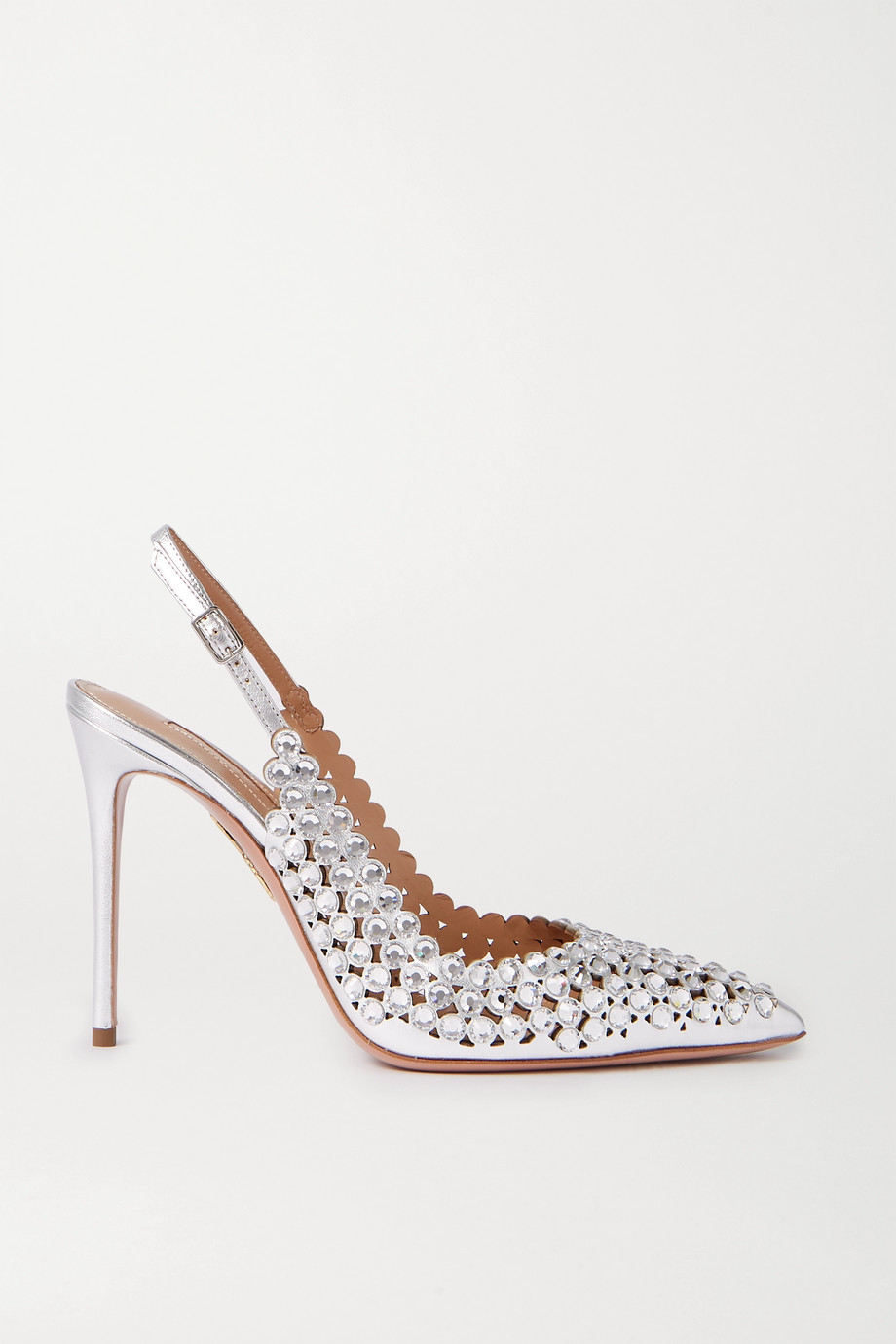Aquazzura Tequila 105 crystal-embellished metallic leather slingback pumps