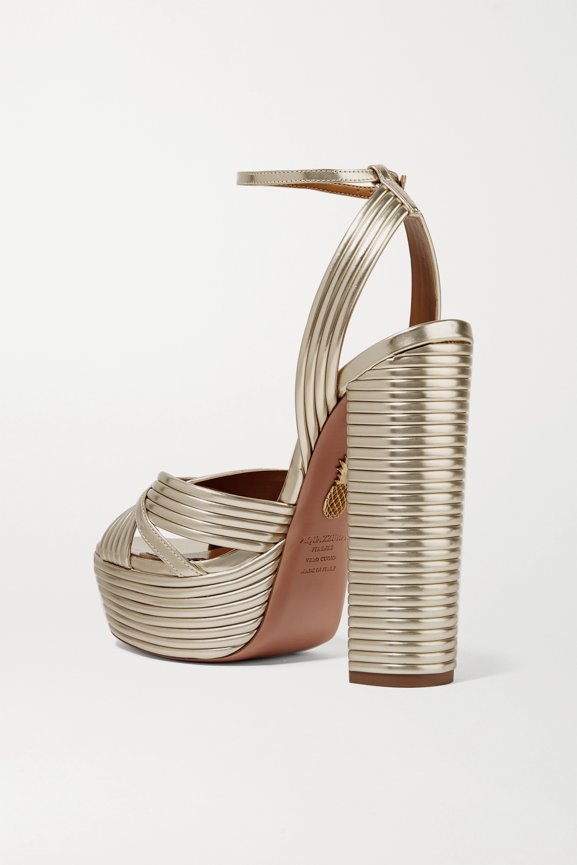 Aquazzura Sundance 140 metallic vegan leather platform sandals