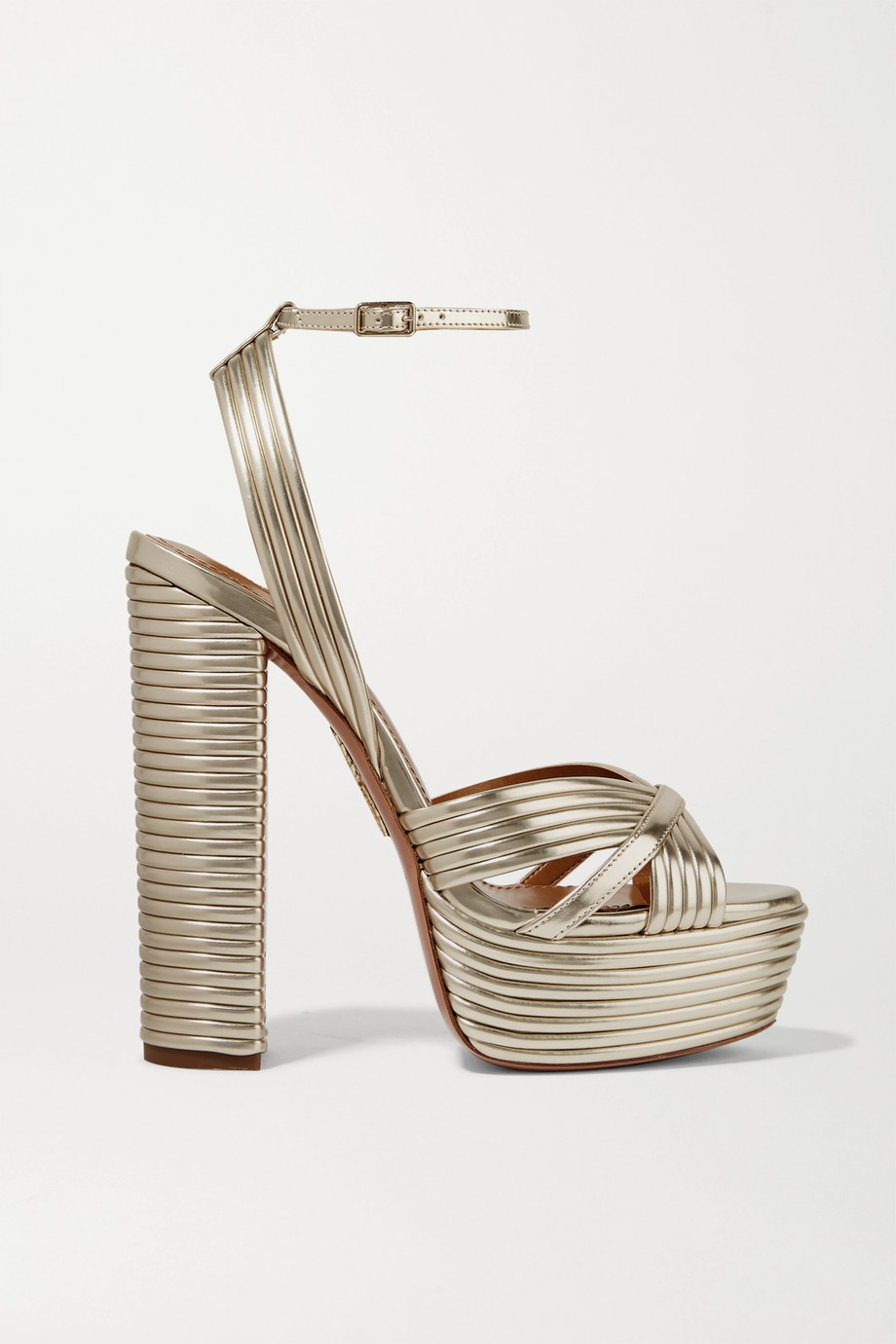 Aquazzura Sundance 140 metallic leather platform sandals