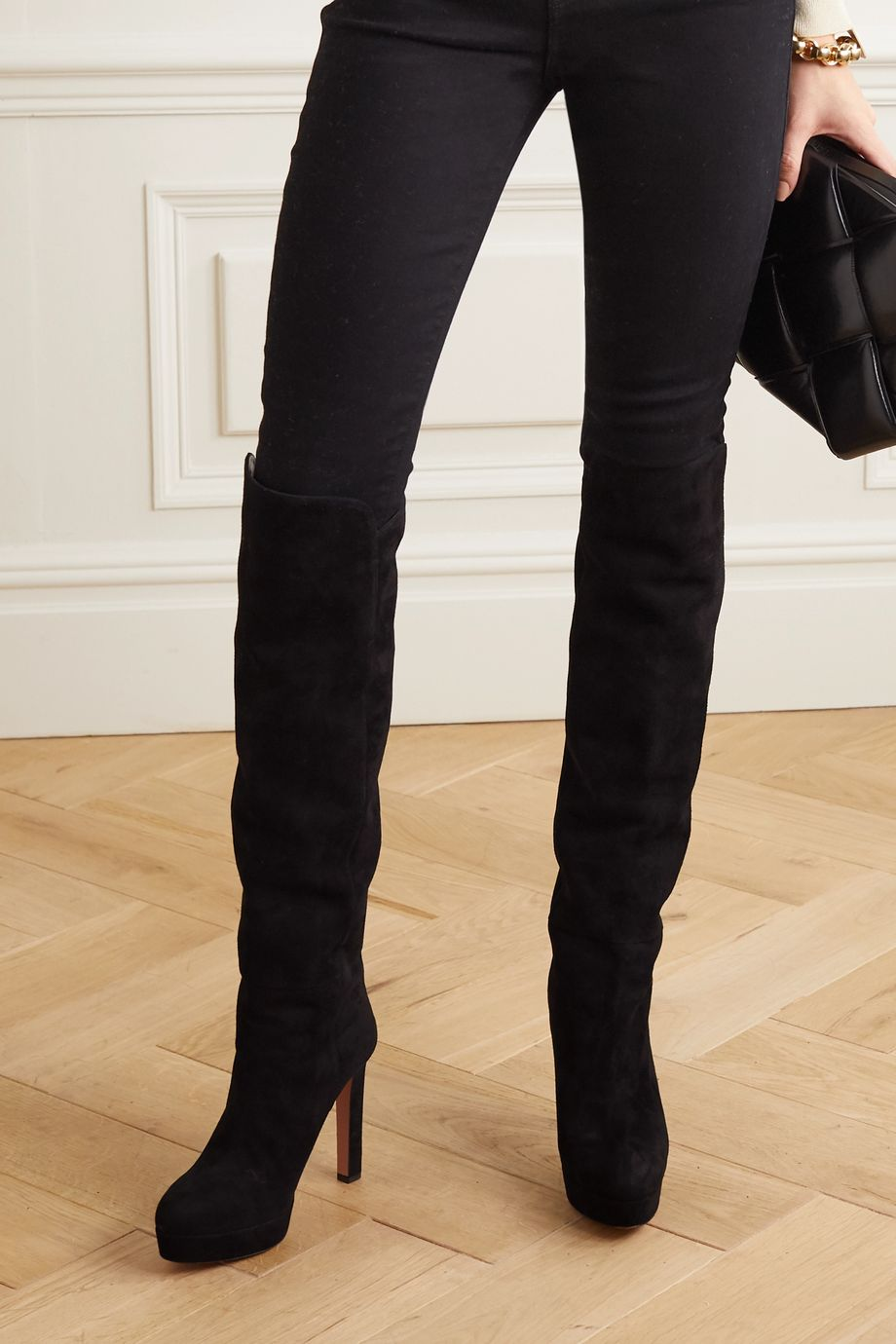 Aquazzura Gainsbourg 120 suede knee boots