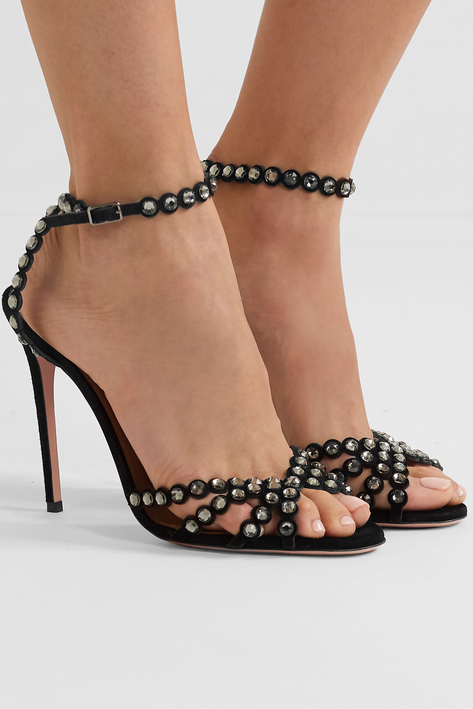 Aquazzura Tequila 105 crystal-embellished suede sandals