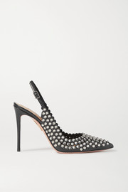 Aquazzura Tequila 105 crystal-embellished leather slingback pumps
