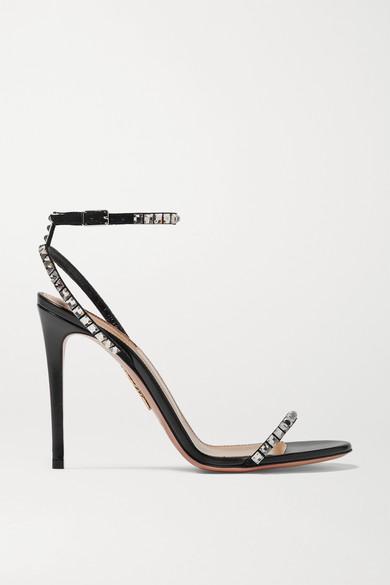 Aquazzura Sandals Very Vera 105 crystal-embellished suede sandals