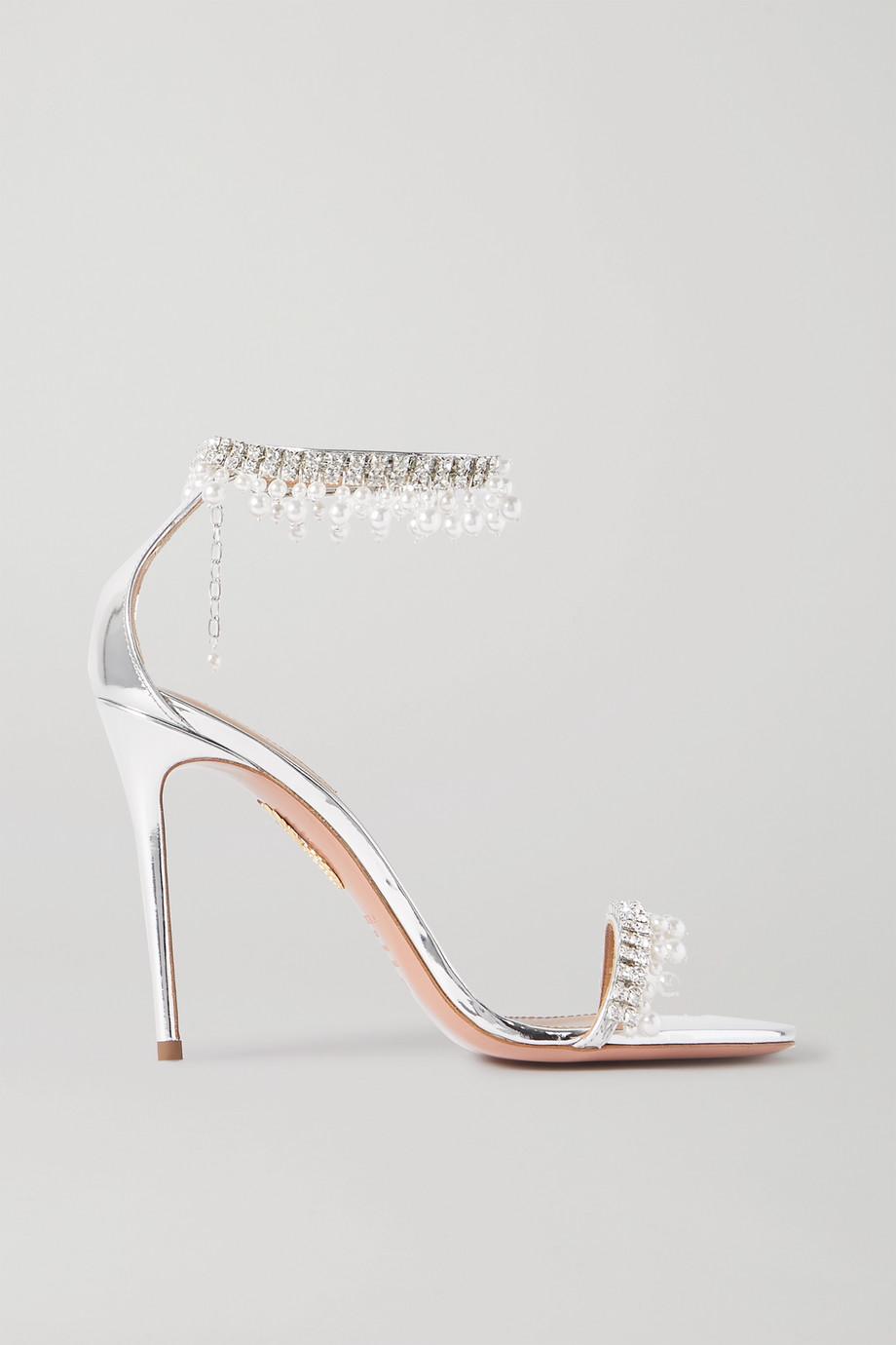 Aquazzura Exquisite 105 embellished metallic leather sandals