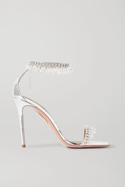Aquazzura Exquisite 105 embellished metallic leather sandals