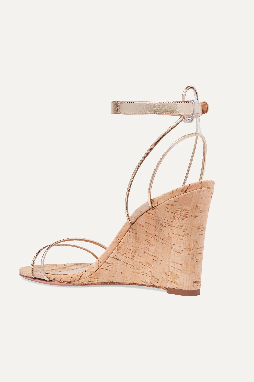 Aquazzura Minimalist 85 PVC and metallic leather wedge sandals