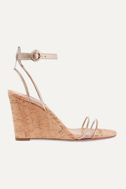 Aquazzura Minimalist 85 PVC and metallic leather wedge sandals