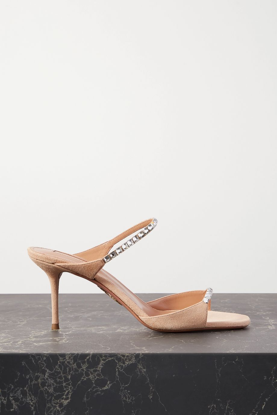 Aquazzura Diamante 75 crystal-embellished suede sandals