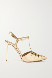 Aquazzura Panthere 105 cutout metallic leather pumps