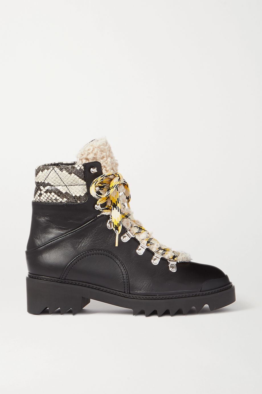 Aquazzura Sierra 40 shearling-trimmed snake-effect and smooth leather boots