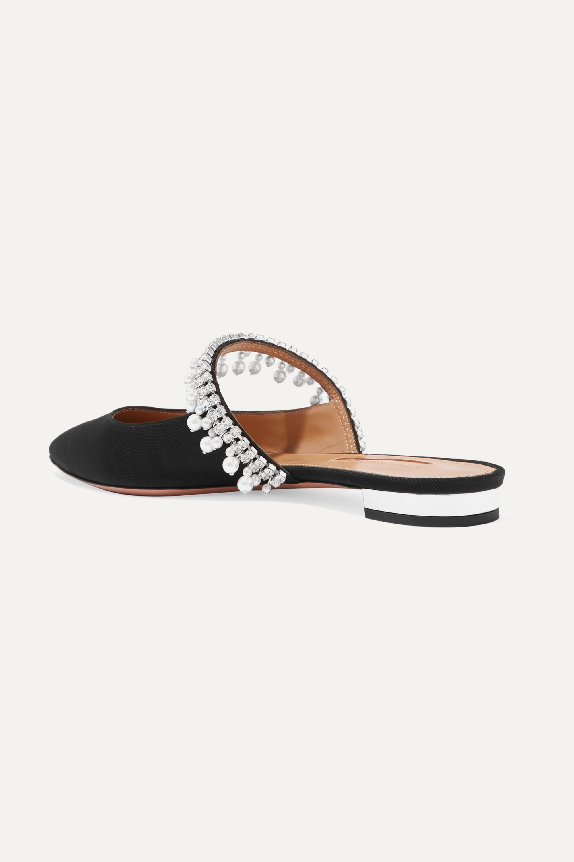 Aquazzura Exquisite crystal and faux pearl-embellished grosgrain slippers