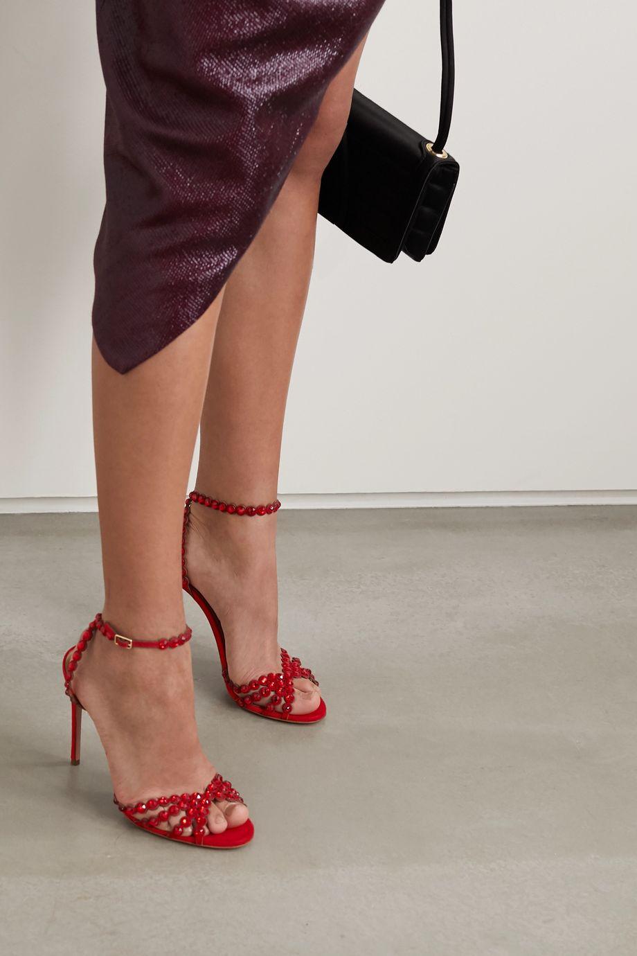 Aquazzura Tequila 105 crystal-embellished suede sandals
