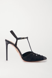 Aquazzura Panthere 105 cutout suede and leather pumps