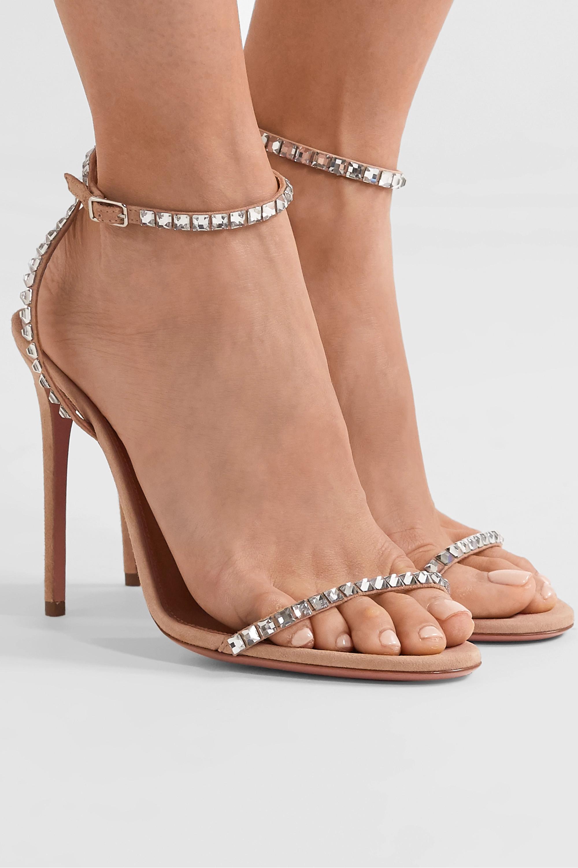 Aquazzura Very Vera 105 水晶缀饰绒面革凉鞋