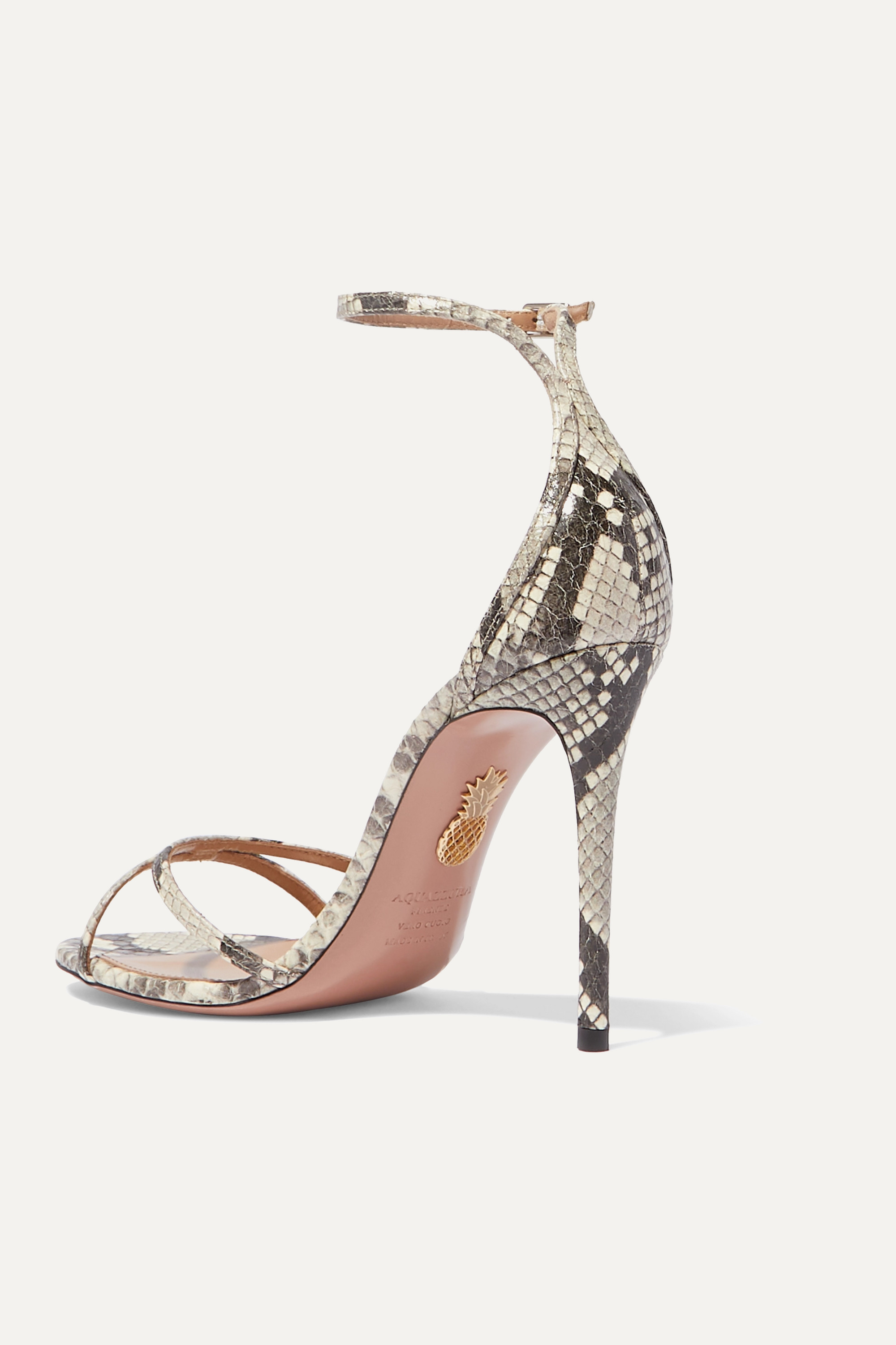 Aquazzura Purist 105 锦蛇皮凉鞋