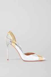 Aquazzura Presley 105 two-tone metallic leather pumps