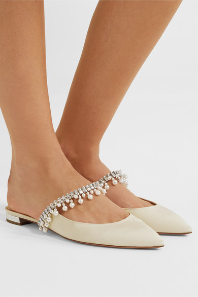 Exquisite Faux Pearl And Crystal Embellished Grosgrain Slippers by Aquazzura